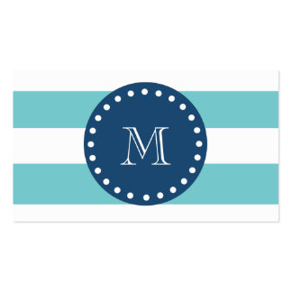 Teal White Stripes Pattern, Navy Blue Monogram Pack Of Standard Business Cards