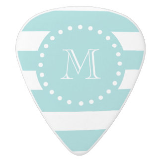 Teal White Stripes Pattern, Your Monogram White Delrin Guitar Pick