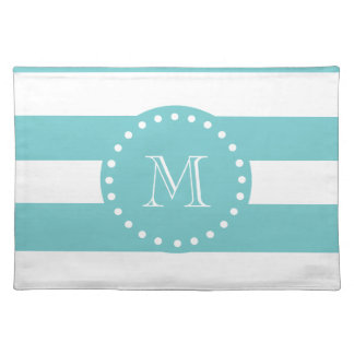 Teal White Stripes Pattern, Your Monogram Place Mats