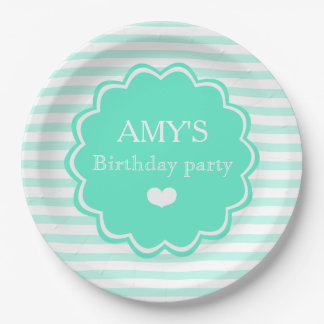 Teal & white stripes - Personalized Paper Plates 9 Inch Paper Plate