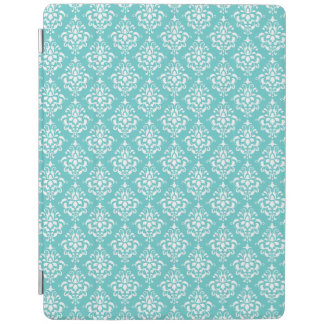 TEAL WHITE VINTAGE DAMASK PATTERN 1 iPad COVER