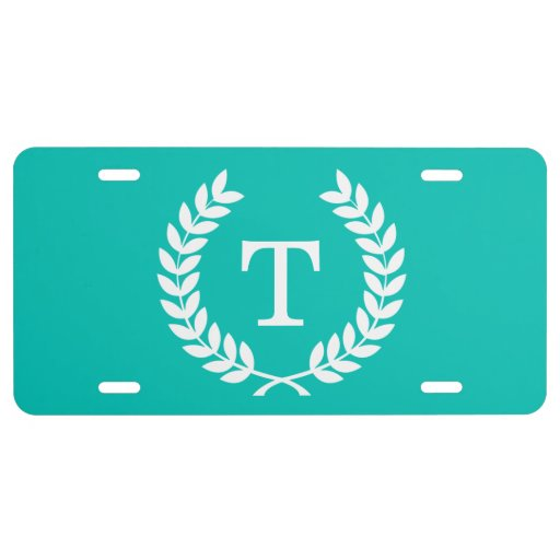 Teal White Wheat Laurel Wreath Initial Monogram License Plate
