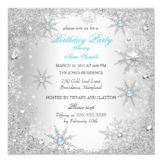 Teal Winter Wonderland Birthday Party 13 Cm X 13 Cm Square Invitation Card