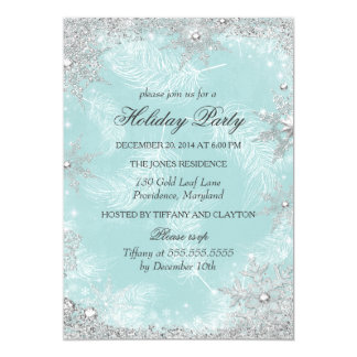 Teal Winter Wonderland Christmas Holiday Party 13 Cm X 18 Cm Invitation Card