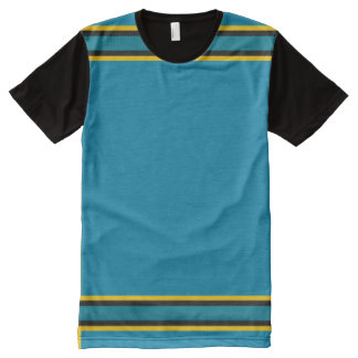 Teal with Gold and Black Trim All-Over Print T-Shirt