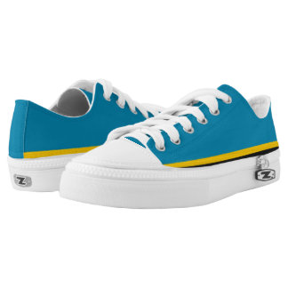 Teal with Gold and Black Trim Lo-Top Printed Shoes
