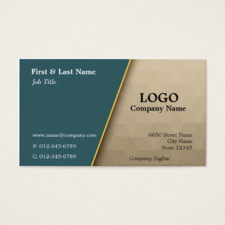 Teal with Tan Cubes Professional Business Card