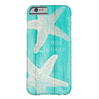 Teal Wood & Starfish Beach Elegant Chic Tropical Barely There iPhone 6 Case
