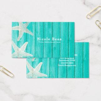 Teal Wood & Starfish Beach Elegant Chic Tropical Business Card