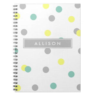 Teal Yellow and Grey Polka Dot Monogram Notebook