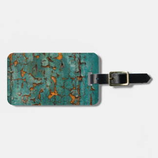 Teal & Yellow Peeling Paint Luggage Tag
