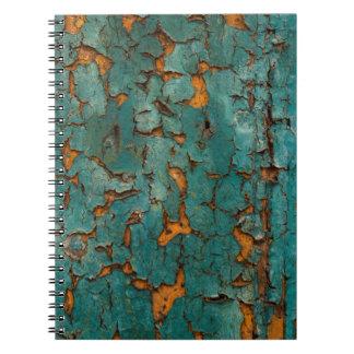 Teal & Yellow Peeling Paint Notebook