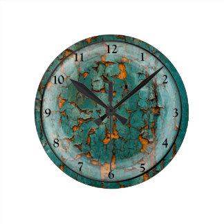 Teal & Yellow Peeling Paint Round Clock
