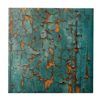 Teal & Yellow Peeling Paint Tile