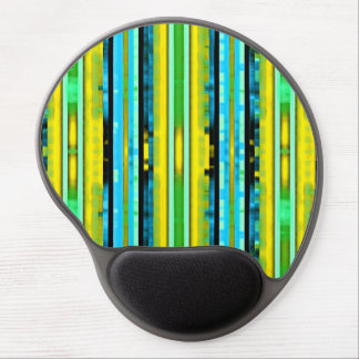 Teal Yellow Trendy Bright Artsy Stripes Pattern Gel Mouse Pad