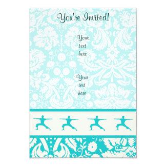 Teal Yoga 13 Cm X 18 Cm Invitation Card