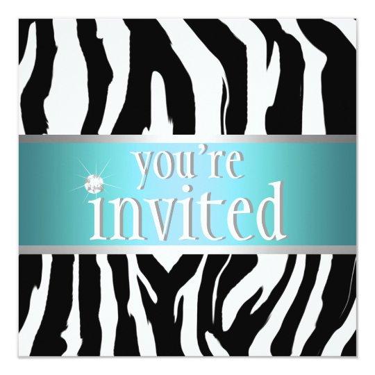 Teal Zebra Birthday Invitation