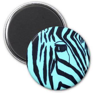 Teal Zebra Magnet