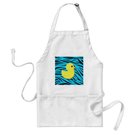 Teal Zebra Stripes Yellow Duck Aprons