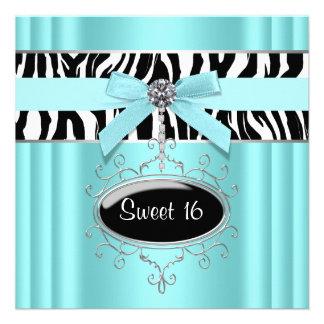 Teal Zebra Sweet 16 Birthday Party Invites