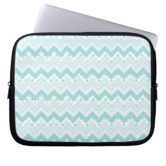 Teal Zigzag and Polka Dots laptop sleeve