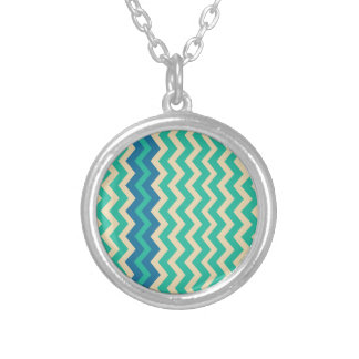 Teal Zigzags With Blue Border Round Pendant Necklace