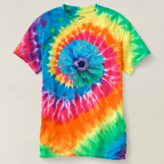 Teal Zinnia - tie-dyed T-Shirt