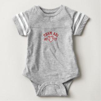 Team Ari baseball heart football baby bodysuit