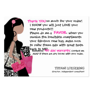 Team BAG Lady customer thank you cards Business Card