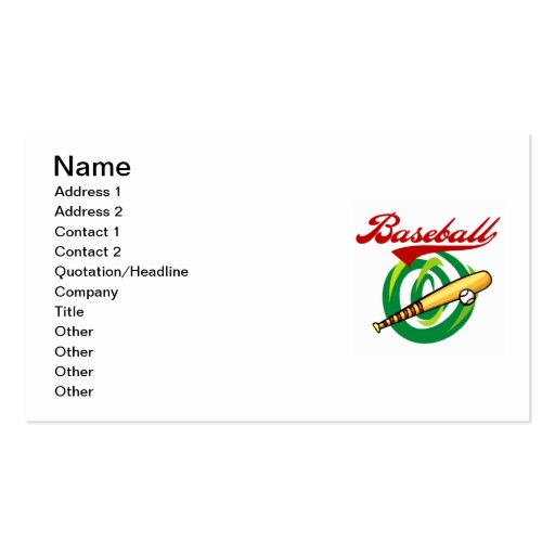 Team Baseball T-shirts and Gifts Business Card Template
