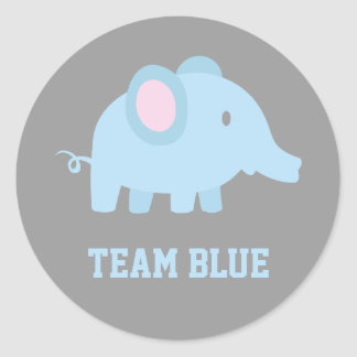 Team Blue, Baby Boy Elephant, Gender Reveal Party Classic Round Sticker