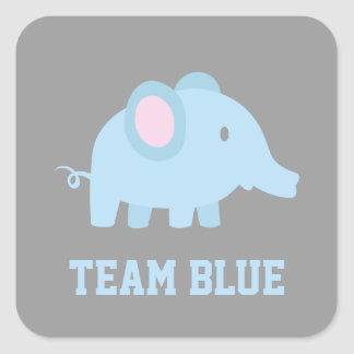 Team Blue, Baby Boy Elephant, Gender Reveal Party Square Sticker