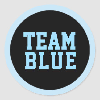 TEAM BLUE Gender Reveal Baby Shower Game Labels Round Sticker
