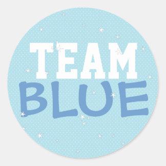 Team Blue Polka Dot & Stars Round Sticker