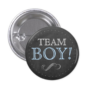Team Boy Blue Chalkboard Baby Shower Small 3 Cm Round Badge