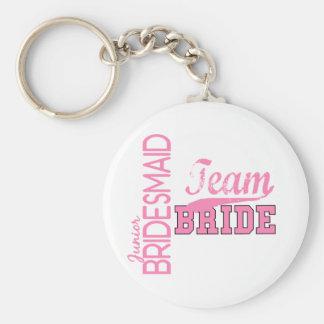 Team Bride 1 JUNIOR JR BRIDESMAID Basic Round Button Key Ring