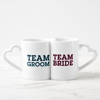 Team Bride and Groom Outline Lovers Mug Set