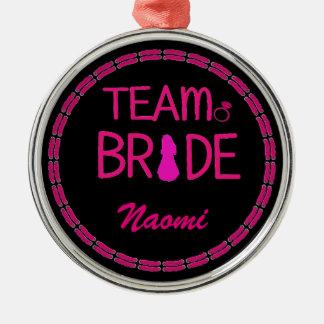 Team Bride - Bachelorette Party Favors Silver-Colored Round Decoration