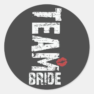Team Bride Big Grunge Text Round Sticker