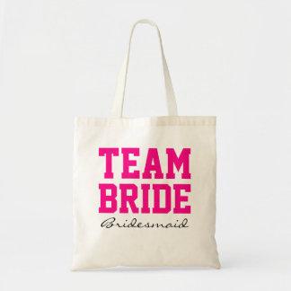 Team Bride bridesmaid personalized hot pink2 Budget Tote Bag