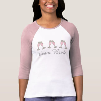 TEAM BRIDE Bubbly Pink Champagne Wedding Party Tee