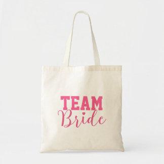 Team Bride Classy Pink Script Bridesmaid Budget Tote Bag