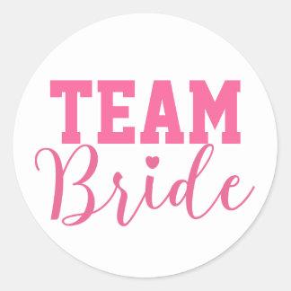 Team Bride Classy Pink Script Round Sticker