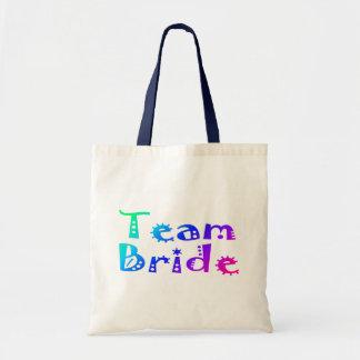 Team Bride (Colorful) Canvas Bags