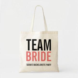 Team Bride Coral Bachelorette Party Budget Tote Bag