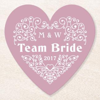 Team Bride custom monograms & year paper coasters