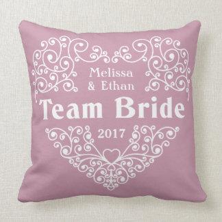 Team Bride custom names & year wedding pillows