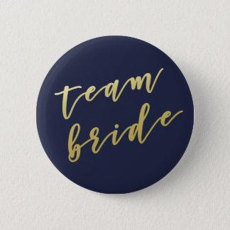 Team Bride | Faux Gold Script White 6 Cm Round Badge