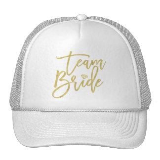 Team Bride Gold Diamond Bridal Party Wedding Cap