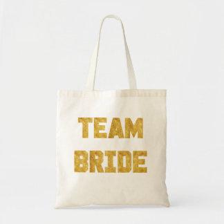 Team Bride Gold Foil Bridesmaid Tote Budget Tote Bag